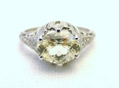 Downton Abbey style Engagement Ring with 1.45 ct by RiordanStudio, $2950.00