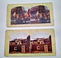 Vtg Indian Stereoview Cards Sioux Indian Chief,He-No-Fraid, Moki Indian House