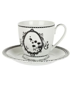 WHITE MISS BLACKBIRDY TEACUP AND SAUCER