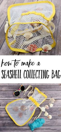 How to make a seashell collecting bag! This is a simple sewing tutorial for making a mesh bag to carry seashells in. Leave the sand at the beach and bring the treasures home! Perfect summer sewing project.