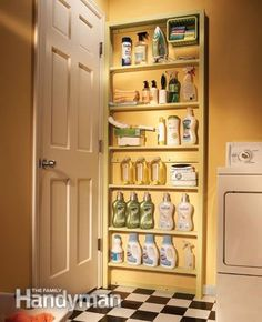 The space behind a door is another storage spot that's often overlooked. Build a set of shallow shelves and mount it to the wall. The materi...
