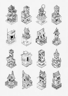 Isometric Grid - Some of last year's Inktober drawings. : drawing