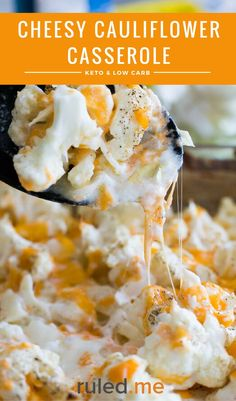 An easy keto cheesy cauliflower casserole recipe. Have this as a main dish, or served as a side. #ketodiet #ketorecipes #ketogenicdiet