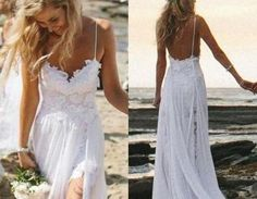 $189.00 A Line Spaghetti Straps Lace Bodice Chiffon Skirt Backless Open Back White Wedding GownBoho Summer Beach Wedding Dresses