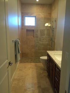 cafe light travertine tile bathroom floor and shower surround for master bath