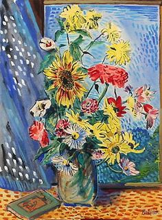 Still life with flowers and book - David Burliuk