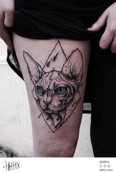 Kamil Mokot Tattoo - Hairless Sphynx Cat tattrx.com/artists/kamil-mokot