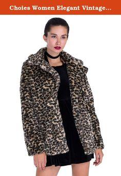 33ef9f9ffed33 CHOiES record your inspired fashion Choies Women Elegant Vintage Leopard  Print Lapel Faux Fur Coat Fall Winter Outwear S Best Winter Coats USA
