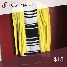Keep summer around with a yellow sweater Keep summer around with this bright yellow cardigan! Approximately 28 inches from back of the neck to the bottom. Lightweight material, body is cotton and trim is cotton blend Express Sweaters Cardigans