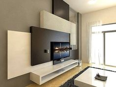 This contemporary modern style media wall is perfect for you if you are a style lover. The main focus is on the design and there is lesser storage space. However, it has an open cupboard for media gadgets. Multiple textures are used with black, white and gray color theme.