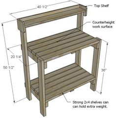I want to make this!  DIY Furniture Plan from Ana-White.com  This spring, get a head start on your gardening with this simple potting bench or gardener's station. This sturdy, easy to build design will bring potting plants to counter height, and can take the place of an outdoor bar come summer BBQ season. Paint a bold color to update the look and styling.