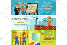 Concept pictures of construction steps. Project of building. Different worker equipment. Engineers and builders