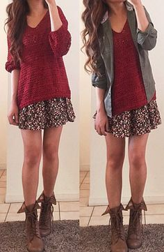 I would wear this. Chunky sweater, floral skirt, boots, and a cute jacket. Can't wait for my hair to be that long again too :)