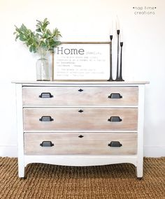 Whitewash Farmhouse Dresser - All About Decoration Paint Furniture, Furniture Projects, Furniture Design, Refurbished Dressers, Restored Dresser, Dresser Refinish, Stained Dresser, Water Based Wood Stain, White Washed Furniture