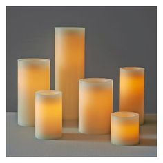 """West Elm Flameless Pillar, 3""""x5"""", Ivory ($12) ❤ liked on Polyvore featuring home, home decor, candles & candleholders, wax pillar candles, led votive candles, flameless wax candles, flameless candles and flameless votive candles"""