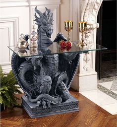 The Subservient Dragon Glass-Topped Sculptural Table