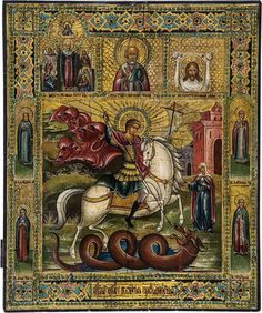"""St. George and the dragon. Russia, late 19th century. Tempera on gesso on wood panel, golden background. The center depicting St. George on a white horse killing the dragon. The rescued Princess Elisabetha pausing at the gate of the tower. The Mother of God """"Joy to all who grieve"""", St. Nicholas and the Mandylion above. Four saints on the border. The background and the border emulating contemporary enamel oklads."""