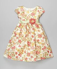 Look at this Cinderella Couture Orange Floral Cap-Sleeve Dress - Toddler & Girls on #zulily today!