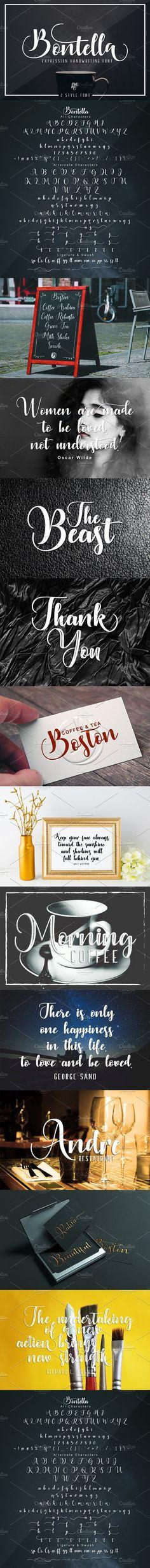 Bontella 2 Style Font. Script Fonts. $15.00
