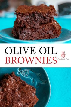 This recipe for homemade Olive Oil Brownies (from scratch!) are the fudgy chocolate chip brownie recipe you've been looking for! Chocolate Chai Recipe, Chocolate Desserts, Easy Desserts, Delicious Desserts, Dessert Recipes, Bar Recipes, Chocolate Lovers, Restaurant Recipes, Baking Recipes