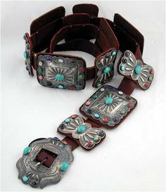 Southwestern Native American Handmade Large Turquoise and Sterling Silver Concho Belt by Navajo Artist Kirk Smith,#11808: Jewelry: Amazon.com