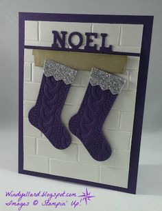 Windy's Wonderful Creations: Merry Monday #214 Purple Cable Knit Stocking!, Stampin' Up!, Christmas Stockings dies, Hearth & Home dies, Brick Wall emboss folder, Cable Knit emboss folder