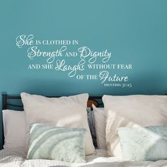 She is Clothed in Strength and Dignity, Proverbs 31 25 Wall Decal, Religious Wall Decor, Christian Wall Decor, Clothed in Strength Sign
