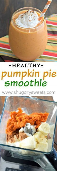 Whip up one of these delicious Pumpkin Pie Smoothies for breakfast today! The pe Whip up one of these delicious Pumpkin Pie Smoothies for breakfast today! The perfect healthy way to start your day (or recover after a workout)! Breakfast Smoothies, Healthy Smoothies, Healthy Drinks, Healthy Snacks, Healthy Eating, Healthy Recipes, Fruit Smoothies, Healthy Breakfasts, Blender Recipes