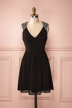 Lydie - Black pleated top, veil skirt dress with pearls and crystals