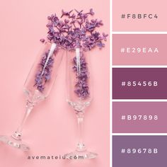 Champagne glasses with lilac flowers on pink color paper minimal style. summer holiday Color Palette #257 - Ave Mateiu