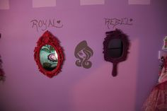 Royal and Rebel mirrors with painted ever after high silhouette.  themed after Apple white and Raven Queens dorm room mirrors