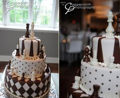"""lovingthedaze: """" i love the idea of chess piece wedding cake toppers! i wouldn't go all out with the chess themed cake though… just the queen and king. Pretty Cakes, Beautiful Cakes, Amazing Cakes, Fondant Cakes, Cupcake Cakes, Chess Cake, Vegas Cake, Creative Wedding Cakes, Cake Gallery"""