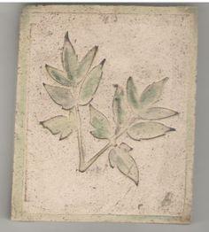 Hand made tile with leaf impression by Bella Odendaal Tiles, Leaves, Handmade, Room Tiles, Hand Made, Tile, Backsplash, Handarbeit