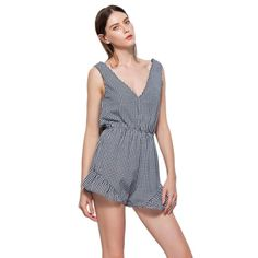 3c4a7b56b676 Plaid Sleeveless Vest Bowknot High Waist Romper for Women.  PlaysuitsJumpsuitsBackless BodysuitSummer ...