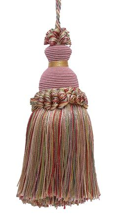 "Decorative 5"" Key Tassel, Dusty Rose, Pastel Green, Lt Gold Imperial II Collecion Style# IKTJ Color: ROSE GARDEN - 3549"