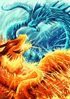 fuckyeahdragons:    Ice dragon vs Fire dragon by *michellescribbles