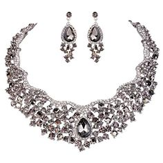 EVER FAITH SilverTone Flower Cluster Necklace Earrings Set Black Austrian Crystal *** You can get more details by clicking on the image. Jewelry Supplies, Jewelry Sets, Women Jewelry, Jewelry Making, Cluster Necklace, Teardrop Necklace, Crystal Flower, Austrian Crystal