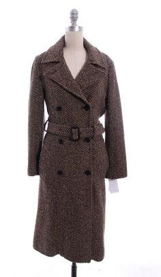 MARC BY MARC JACOBS Brown Tweed Long Belted Coat Sz XS #MarcbyMarcJacobs #BasicCoat
