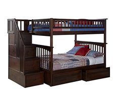 Columbia Staircase Bunk Bed with 2 Flat Panel Bed Drawers, Full Over Full, Antique Walnut - $1602.57