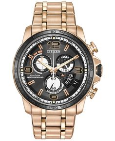 Citizen Men's Eco-Drive Chrono-Time A-t Rose Gold-Tone Stainless Steel Bracelet Watch 44mm BY0108-50E