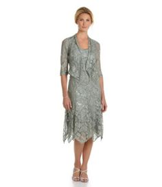 KM Collections Sequined Lace Jacket Dress | Dillards.com