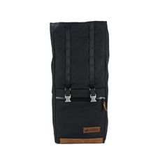 Rugged Material Leather Cordura Rolltop Backpack Black open.jpg