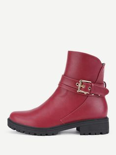85a67c1e3cf Buckle Decorated Round Toe Ankle Boots from Shein - ad. ladies boots