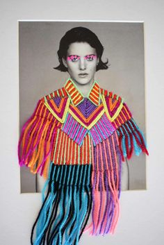 Embroidered photograph of a model by Mexican artist Victoria Villasana
