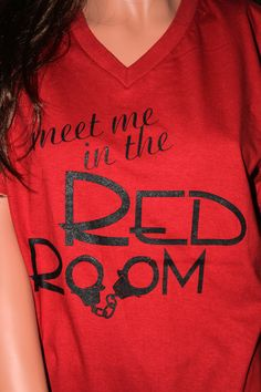 FREE tote bag with this Meet Me In The Red Room shirt - Fifty Shades of Grey inspired (unofficial) - Red Unisex V-neck Shirt. $17.95, via Etsy.