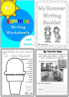 Summer Writing Worksheets K-1 73 pages$