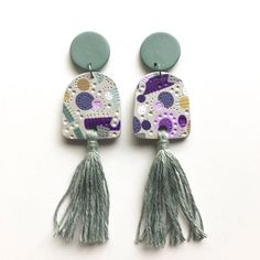 LAVENDER MINT weirdlings polymer clay dangle statement tassel earrings - purple green yellow grey mustard by HeidiHelyard on Etsy https://www.etsy.com/au/listing/581284302/lavender-mint-weirdlings-polymer-clay
