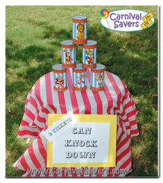 "See our super ""easy to set up"" Carnival Game Can Knock Down. Great for younger children and perfect for a back yard carnival birthday party! School Carnival, Carnival Birthday Parties, Circus Birthday, Birthday Party Games, Circus Party, Boss Birthday, Carnival Wedding, Surprise Birthday, Birthday Ideas"