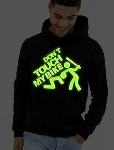 Don't touch my Bike hoodie glow in the dark hoodie biker hoodie glowing logo hoodie tee top shirt great gift present idea Dont Touch Me, Happy Shopping, The Darkest, Biker, Great Gifts, Glow, Unisex, Hoodies, Tees