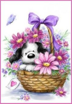 Wishing you a very Happy Birthday. Cute Images, Cute Pictures, Canvas Artwork, Canvas Prints, Grey Dog, Cute Clipart, Tatty Teddy, Happy Art, Illustrations